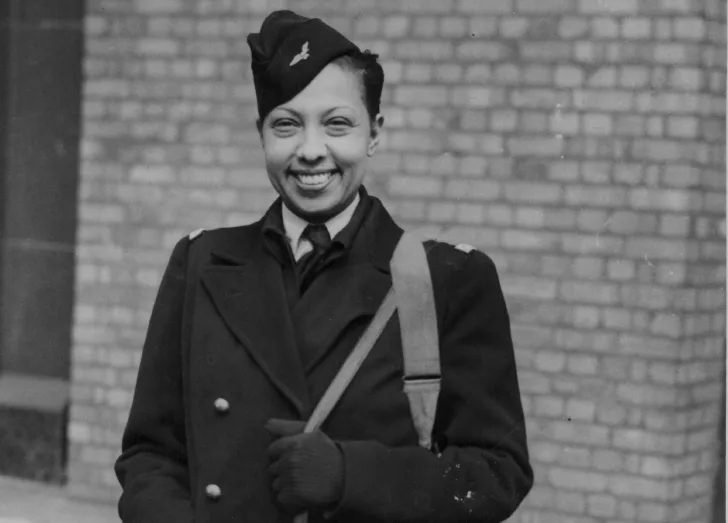 Josephine Baker posing in her army uniform