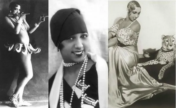 Three pictures of Josephine Baker, first in her famous banana skirt, next in an outfit involving a headwrap and pearl necklace, and finally in a silk or satin dress with a cheetah