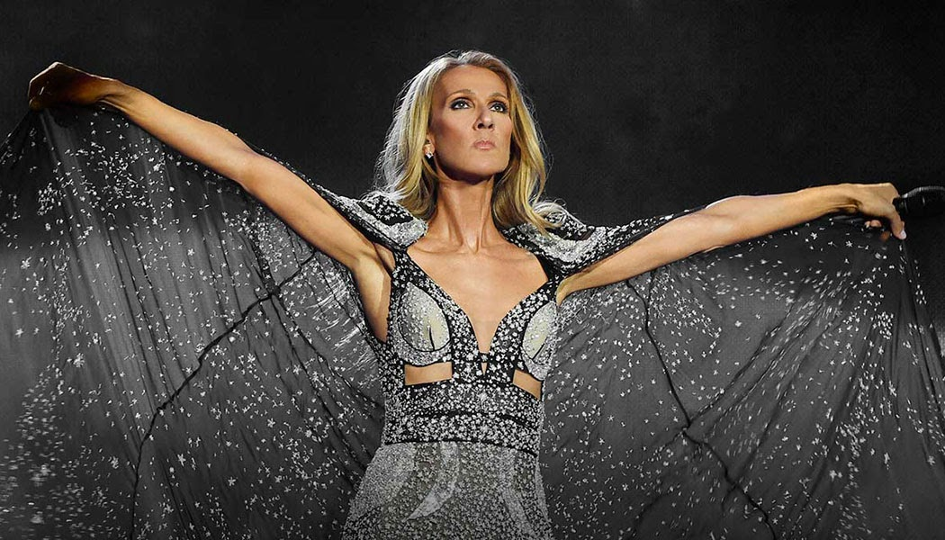 Celine Dion strikes a dynamic pose during one of her performances.