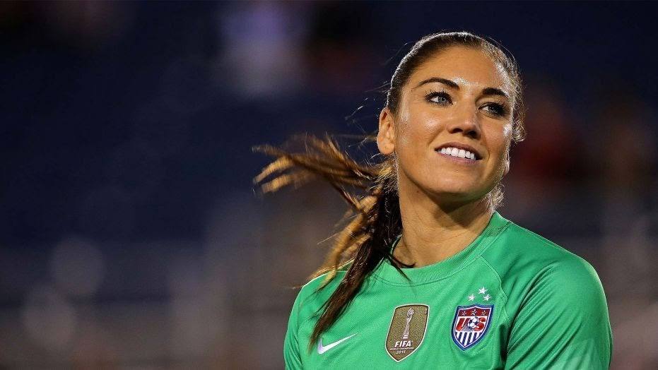Hope Solo smiles mid-game during the 2015 World Cup.