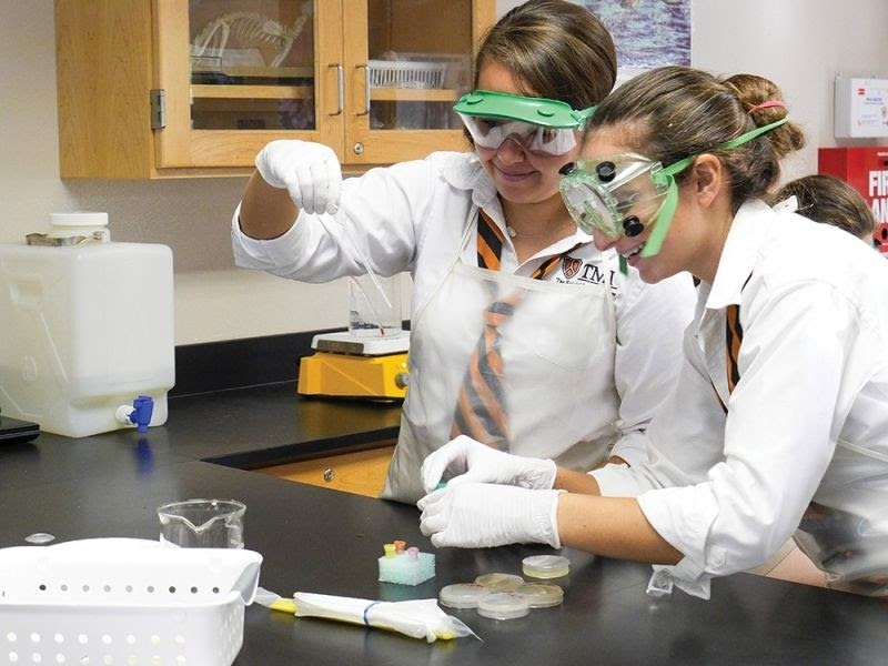 A few young women are working in a sciencelab.