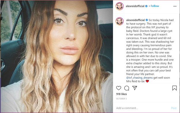 An Instagram post by Alex Reid with a picture of his fiancée in a car next to it