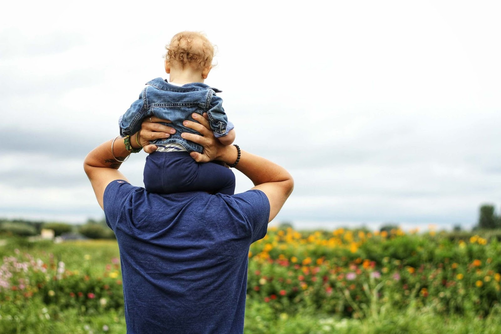 Man and his son, wearing blue, in a field, with backs turned