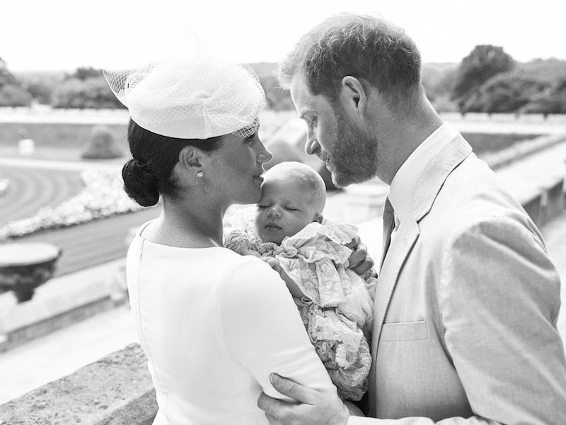 Meghan and Harry embracing son