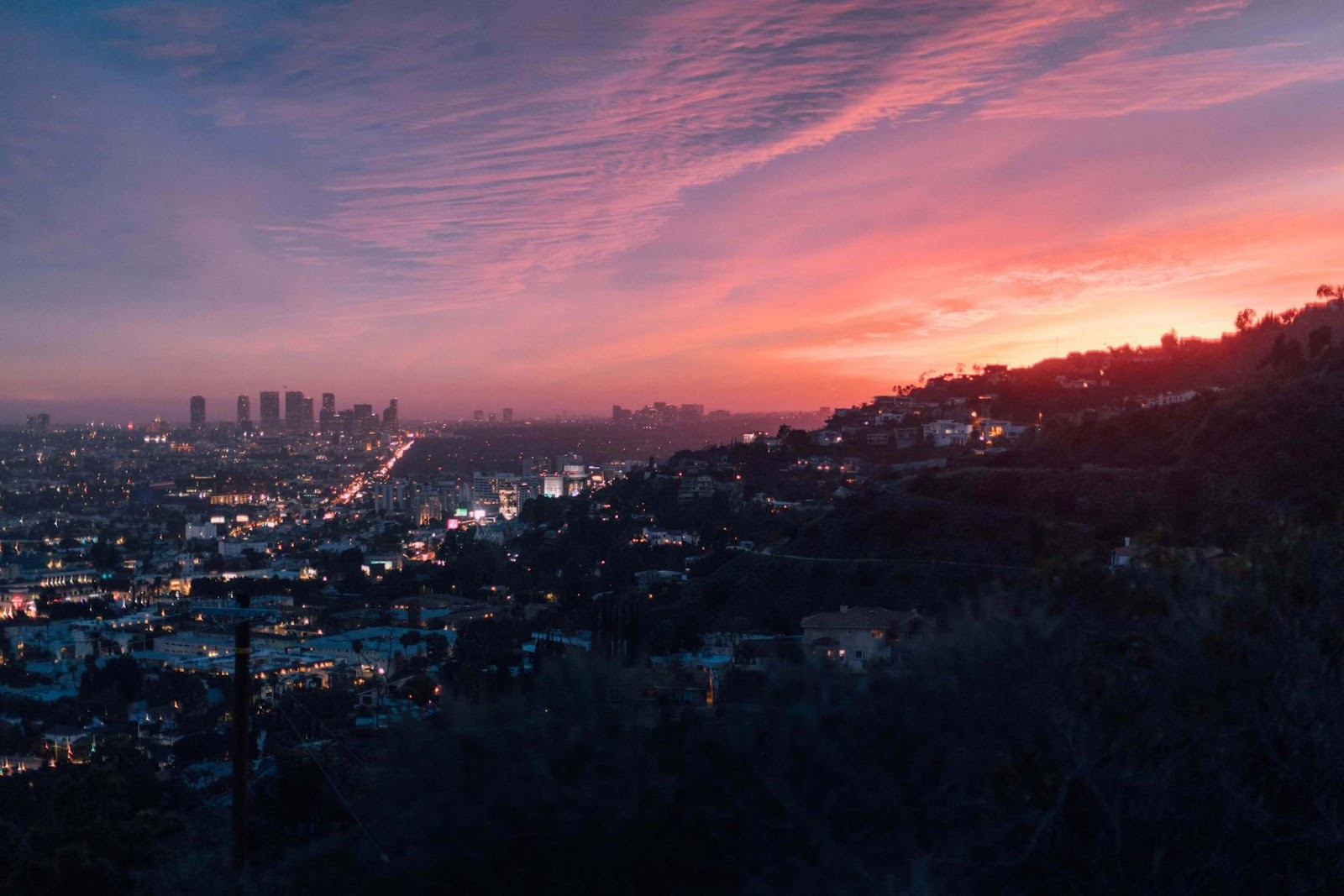 A wide view of Los Angeles at sunset