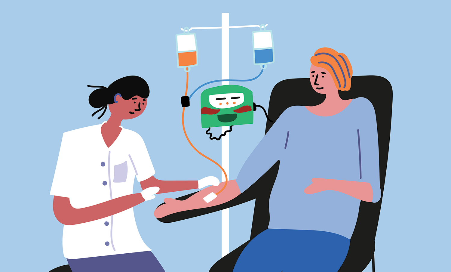 A patient undergoing chemotherapy.