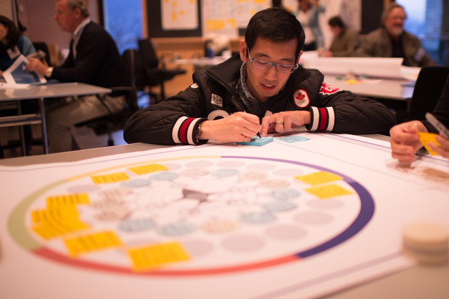 Summit participant Alan Chiu, partner in XSeed Capital, brainstorming target outcomes for the small-scale fisheries challenge