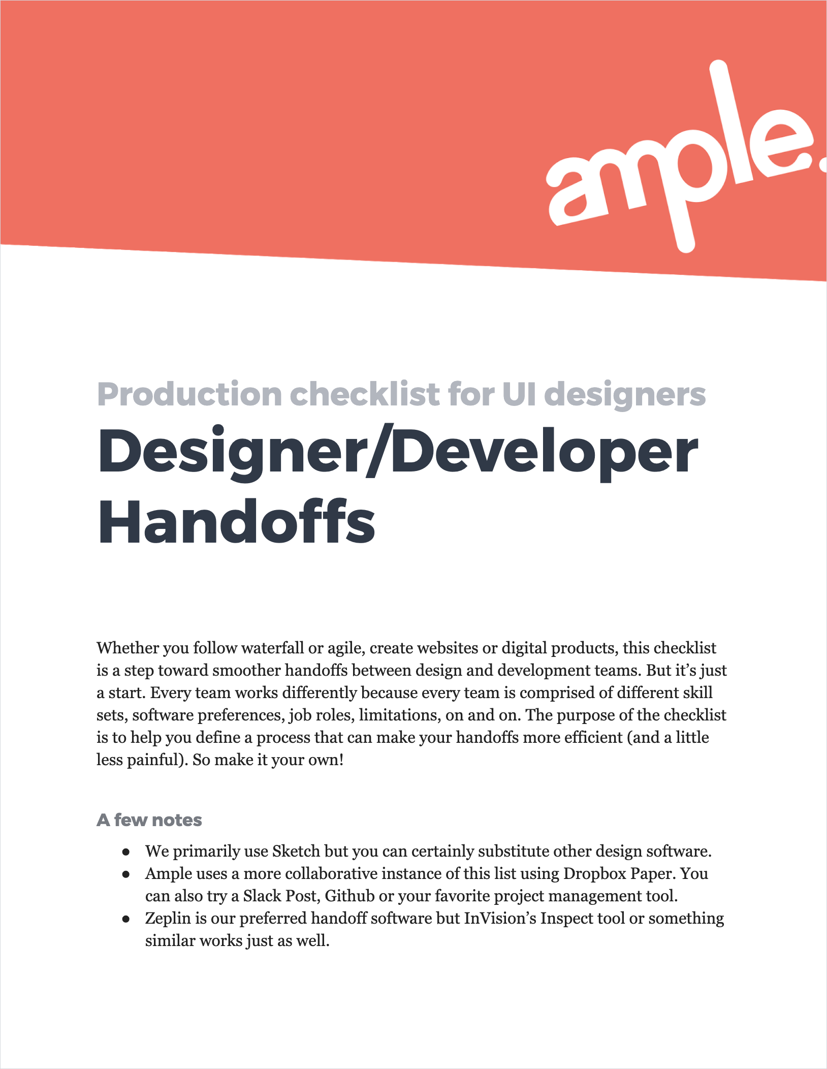Ample's Designer/Developer Handoffs Checklist (PDF)