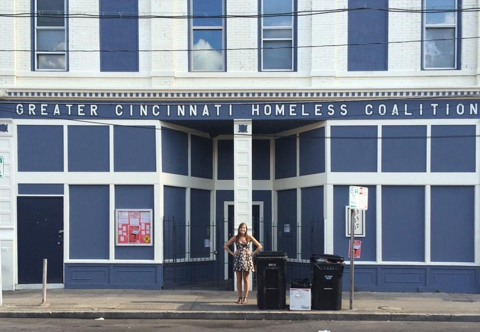 Rachel standing outside of the Greater Cincinnati Homeless Coalition