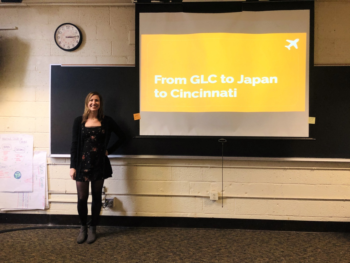 "Rachel giving a presentation ""From GLC to Japan to Cincinnati"""