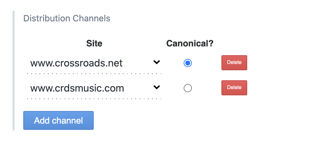 CMS options to set sites as distribution channels