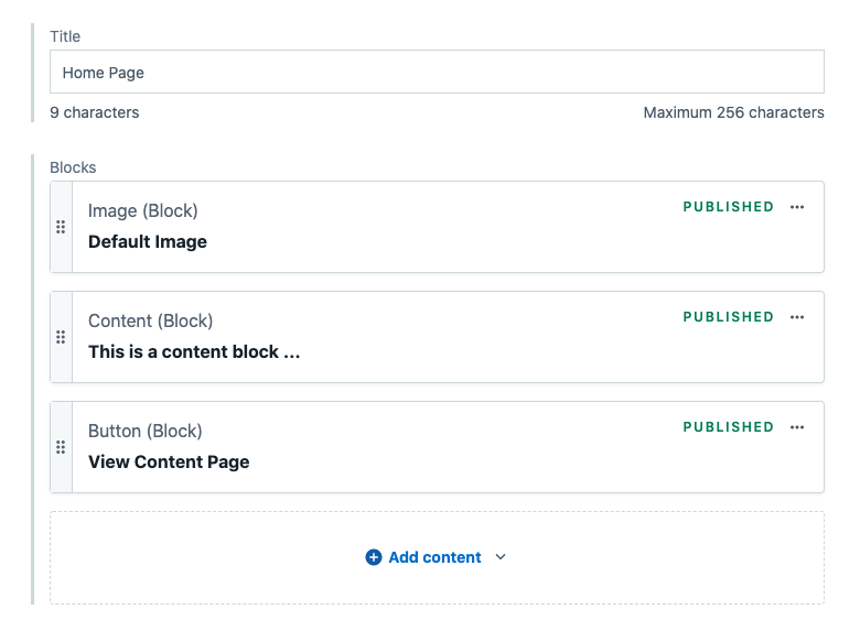 Screenshot from Contentful component blocks