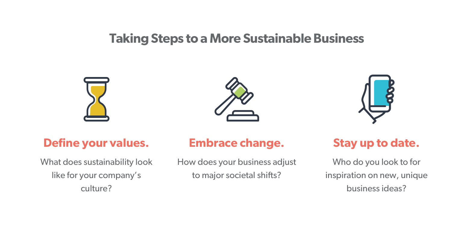 Taking steps to a more sustainable business… 1. Define your values: What does sustainability look like for your company's culture?  2. Embrace change: How does your business adjust to major societal shifts? 3. Stay up to date: Who do you look to for inspiration on new, unique business ideas?