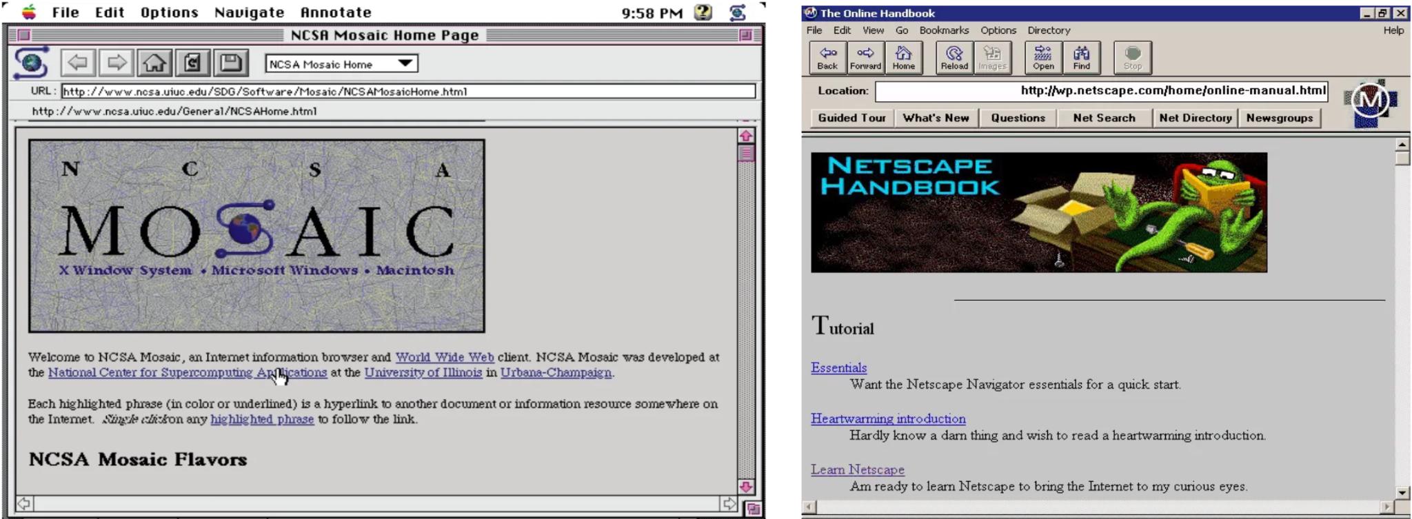 Screenshots of NCSA Mosaic and Netscape 0.9 Beta