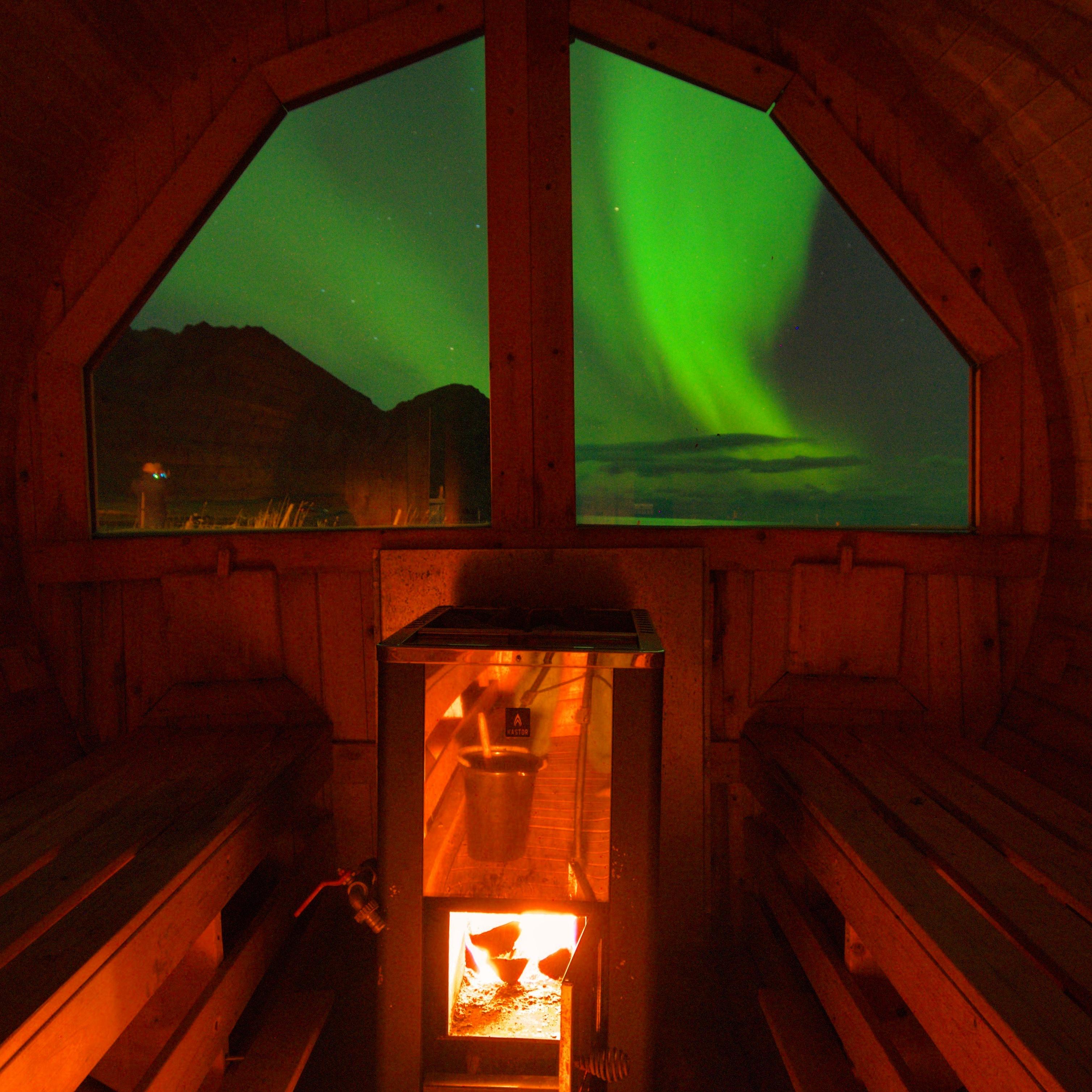 Sauna with northern lights.