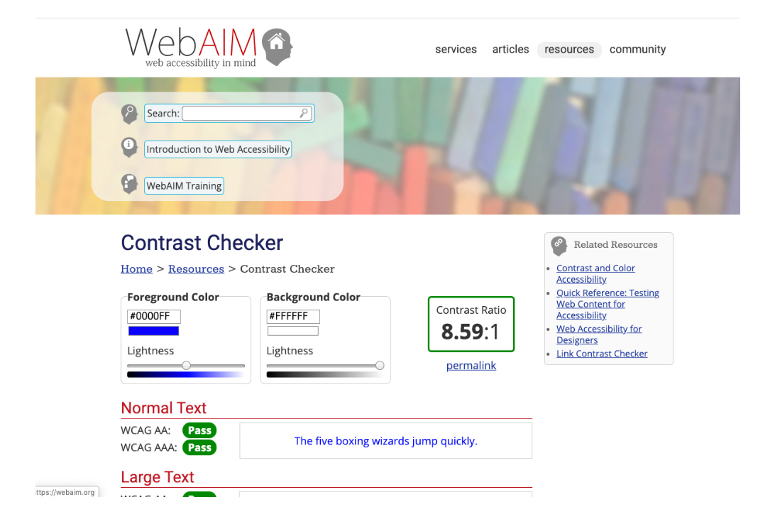 WebAim Contrast Checker website example