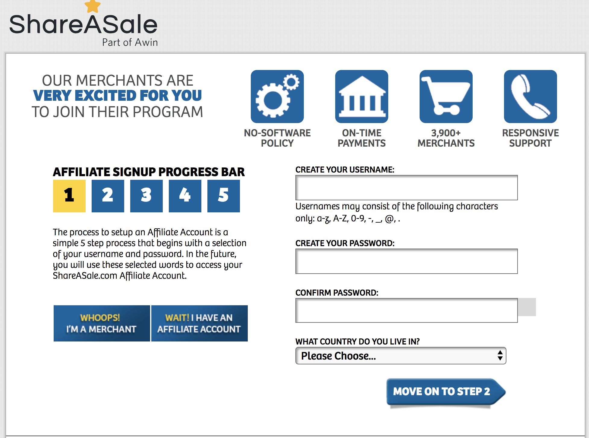 Create a ShareASale Account