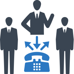 icon image of 3 male figures in a communications node