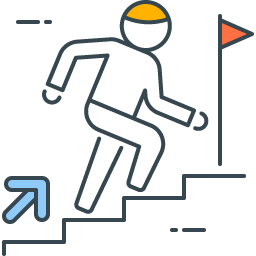 graphic with worker running upstairs depicting the final push to project completion