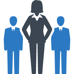 icon image of 3 male figures i- 2 males being led by a woman