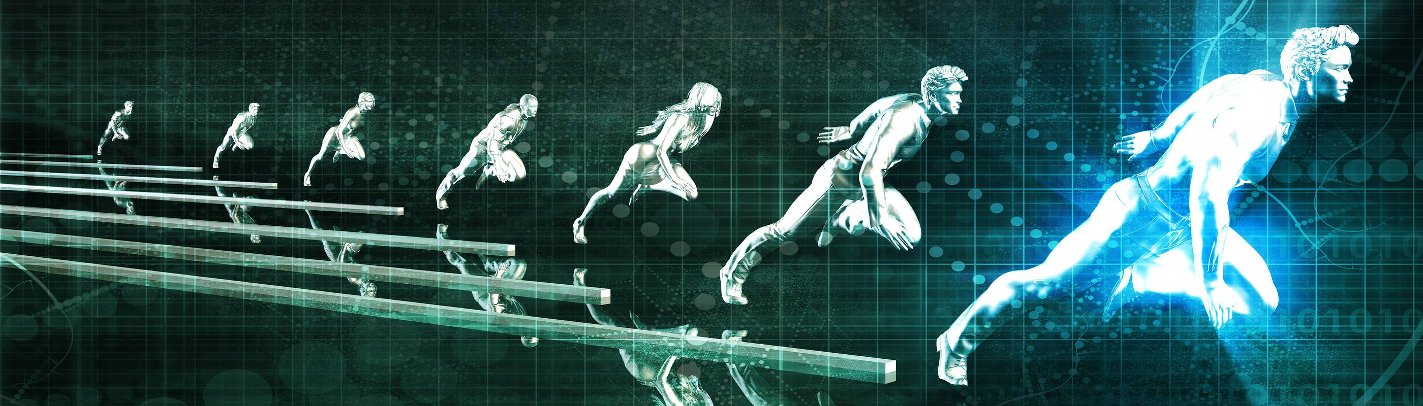 Abstract image of runners representing competing clients in a race
