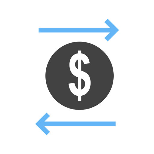 icon with dollar sign depicting the flow of money into and out of an orgaization