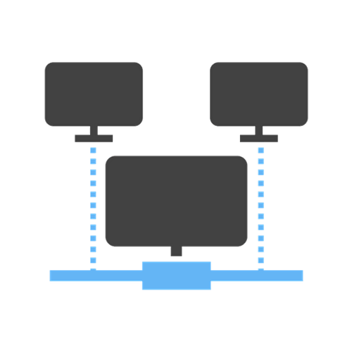 network icon depicting technology infrastructure
