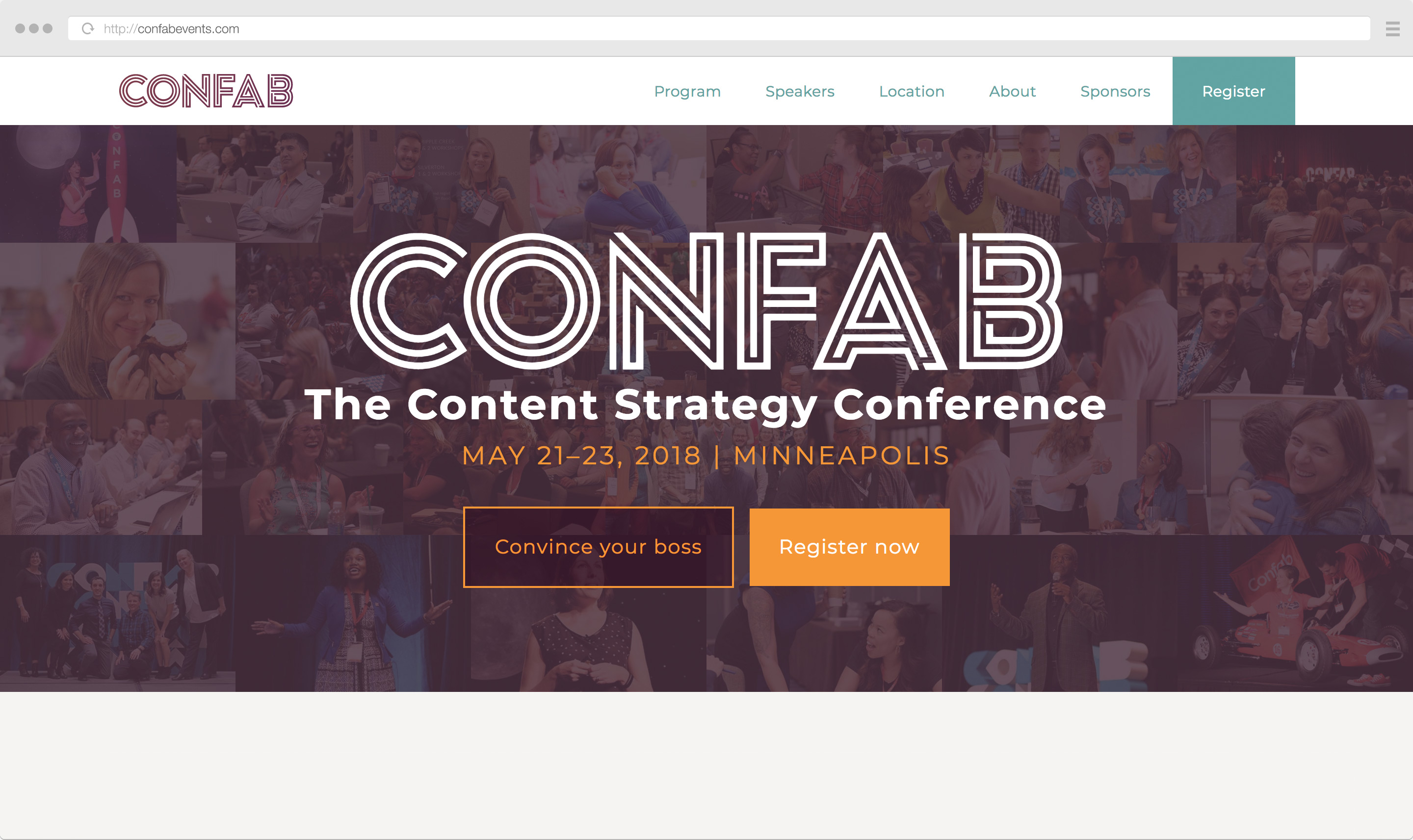 Confab Events 2018 home page design