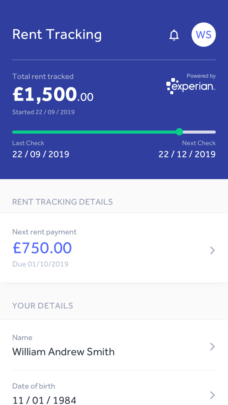 Canopy Rent Tracking app screen