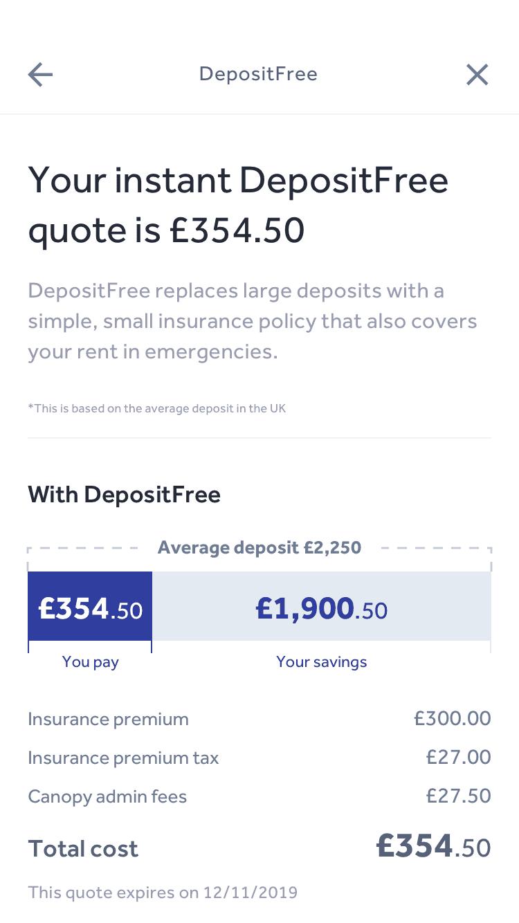 Canopy Deposit Free quote app screen