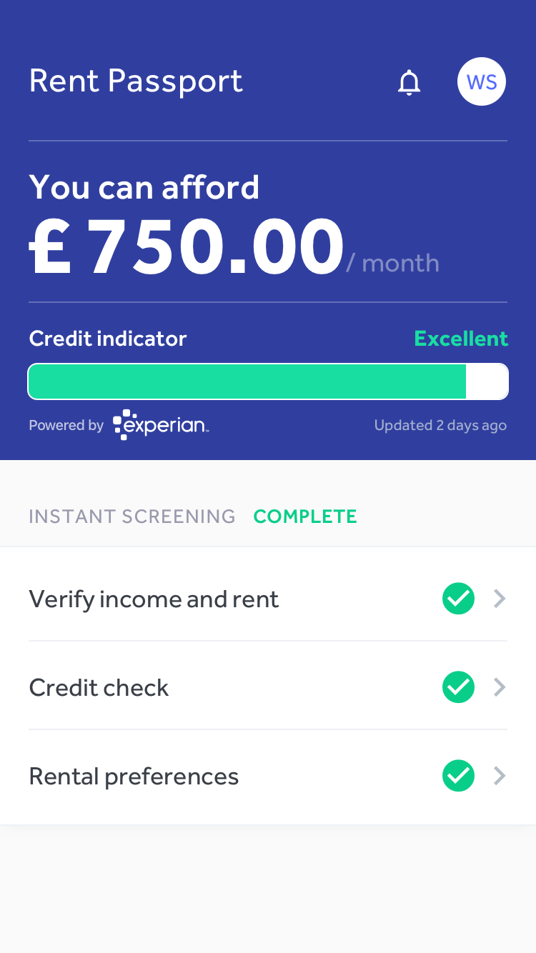 Canopy Rent Passport app screen