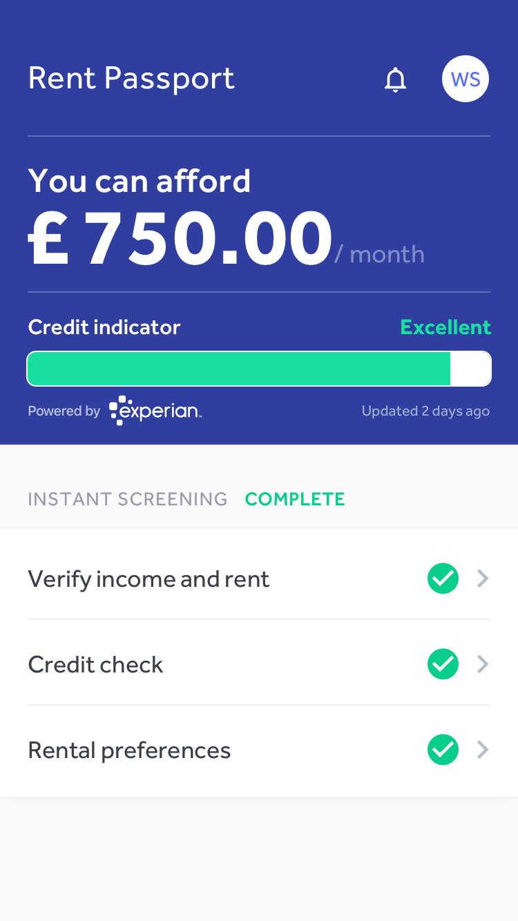 Canopy Rent Passport app screen