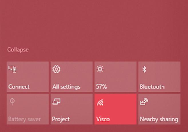 bluetooth settings on the windows 10 taskbar