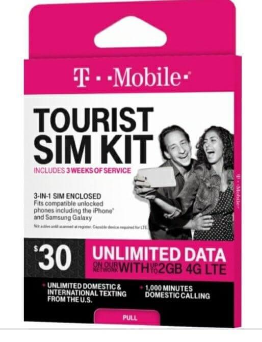 t-mobile tourist sim kit