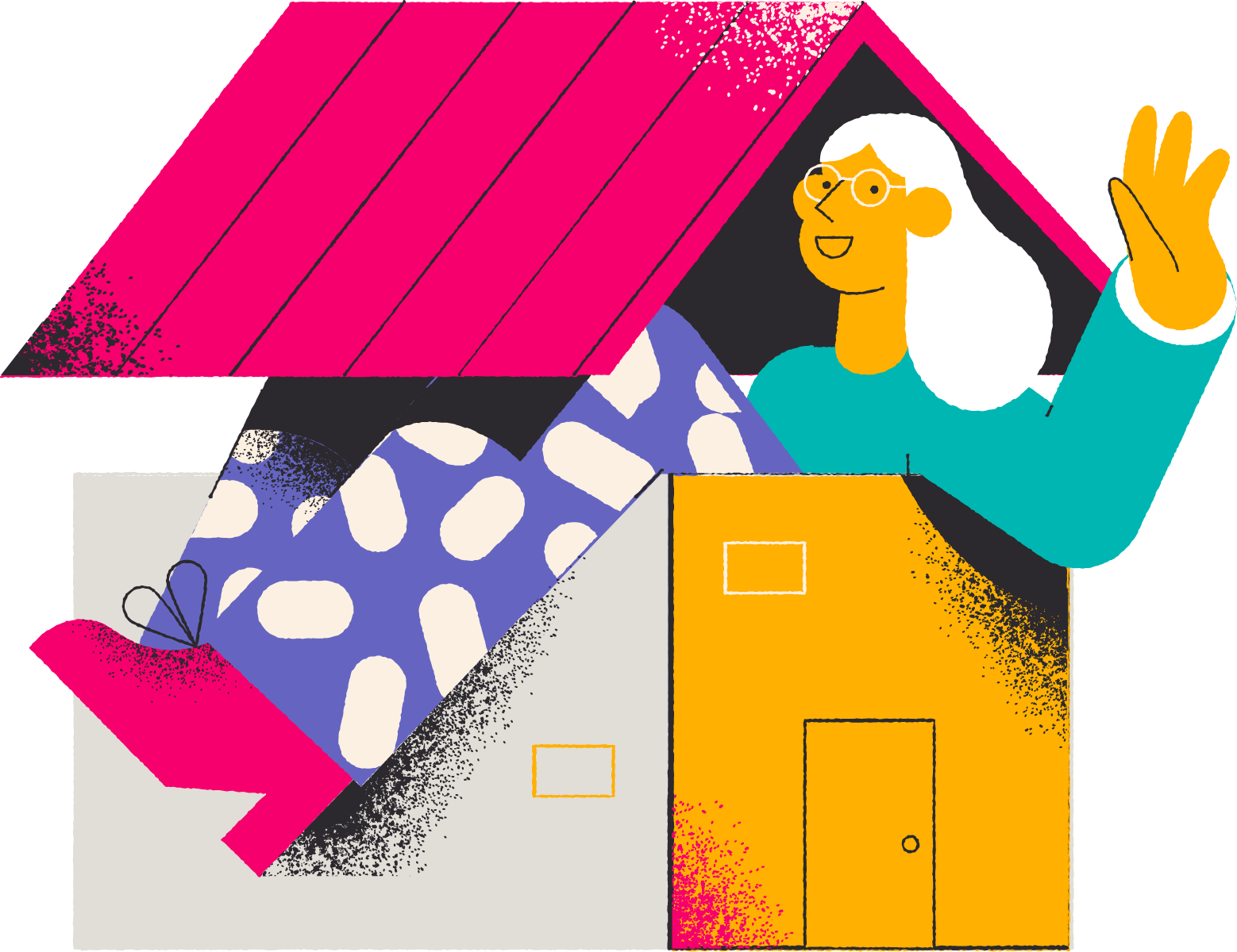 Woman in home illistration