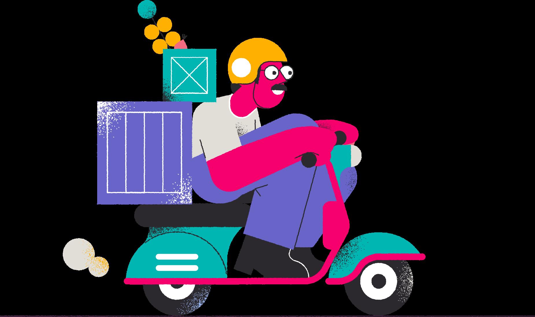 Illustration of man moving items on a motor bike