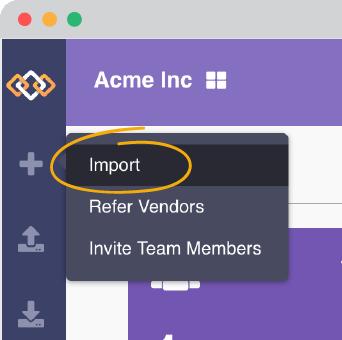 Find import in Venzee's navigation menu.