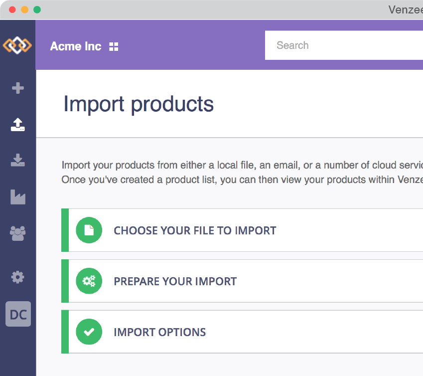 Venzee's product import flow has been redesigned.