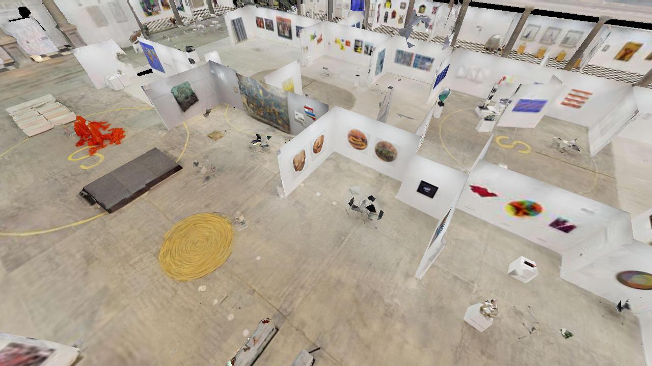toma aerea de un recorrido virtual de 5200 metros cuadrados en Art Lima Barranco Lima Perú de 2019