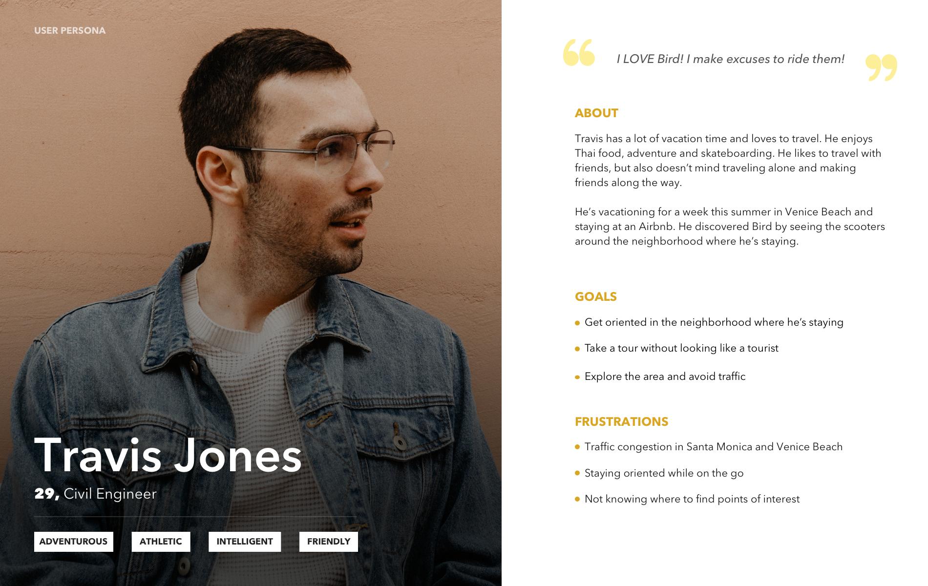 User persona for Travis Jones