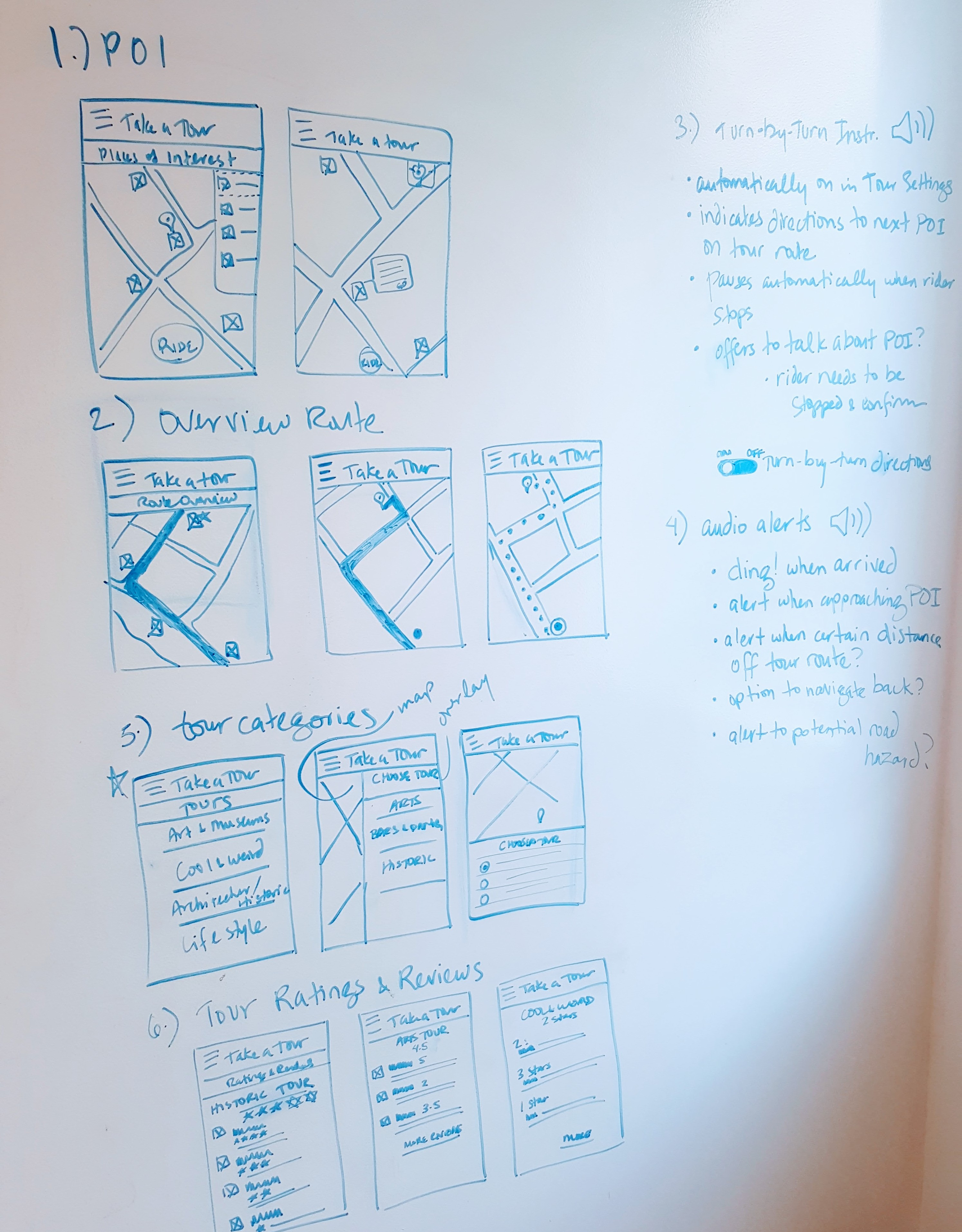 Lo-fi wireframes sketched on a whiteboard