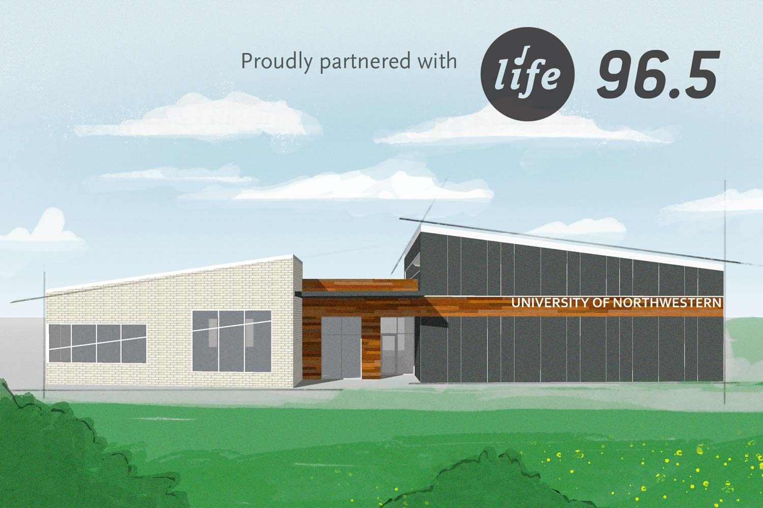 Rendering of Life 96.5 radio station with the University of Northwestern education wing