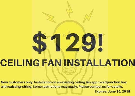 $129 ceiling fan installation in los angeles