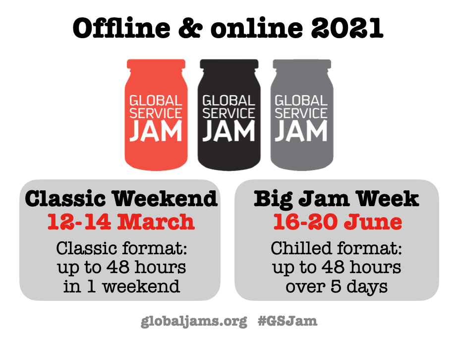 As last year, we will split the Jam. It will be spread over two main dates:‍ CLASSIC WEEKEND: weekend of the 12th of March 2021 – intense online or offline Jams of up to 48 hours. BIG JAM WEEK: 16-20 June 2021 – online or offline Jams in various formats, squeezed into 48 hours or spread over several days.