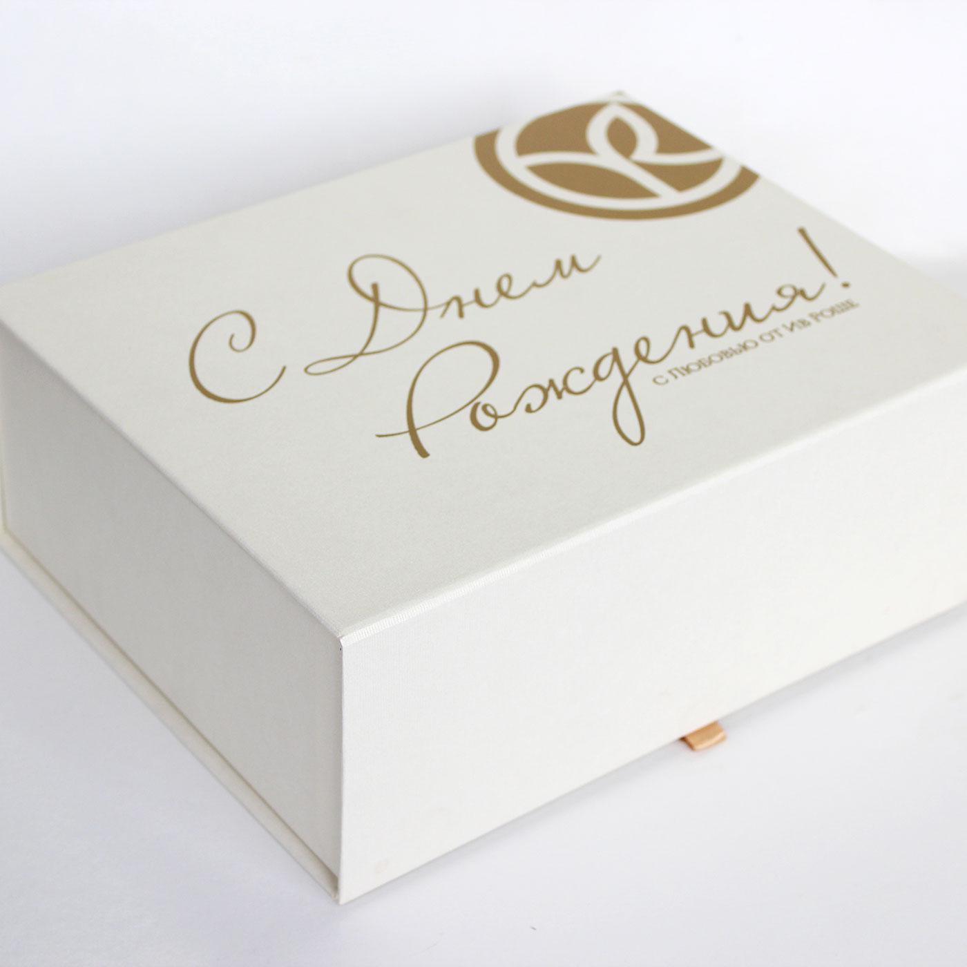 Кашированная коробка книга с шелкографией