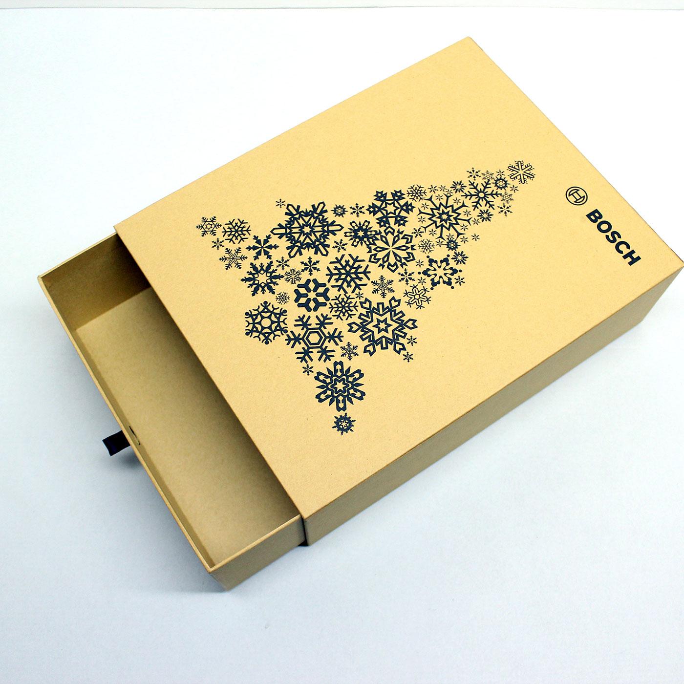 Кашированная новогодняя коробка слайдер для подарков
