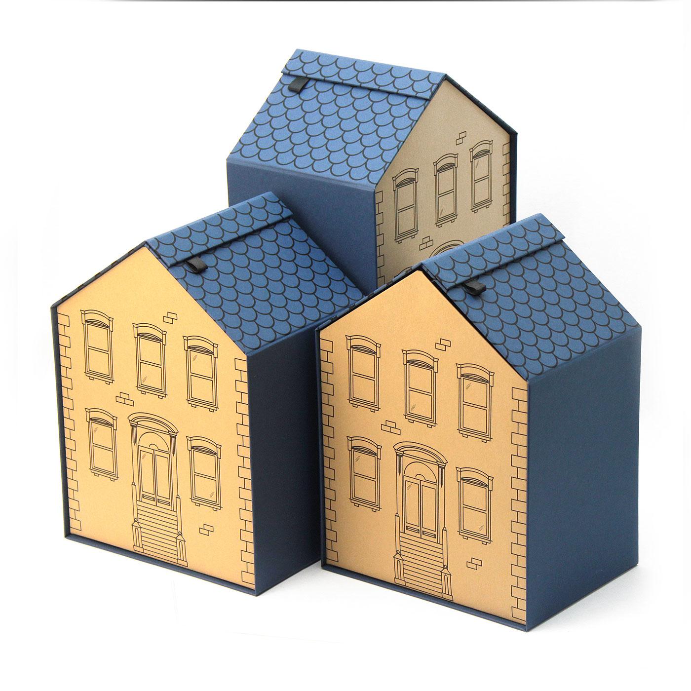Коробка домик из кашированного картона