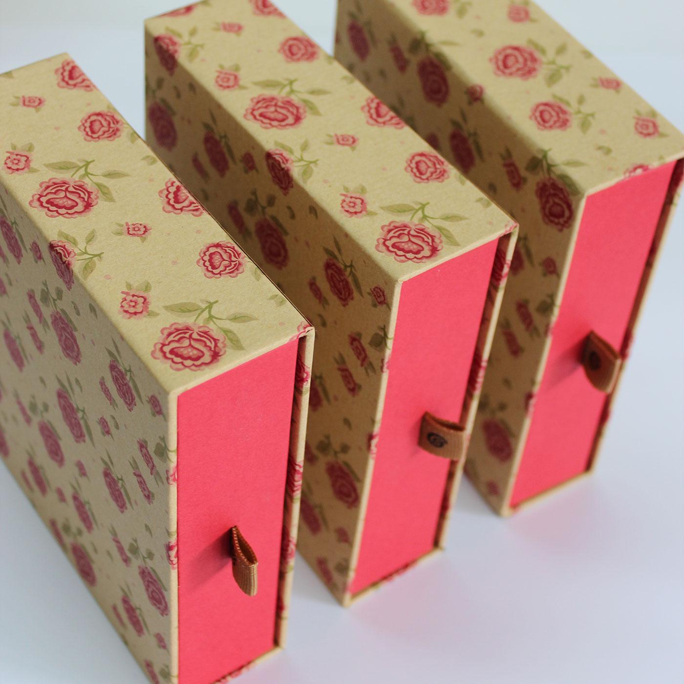 """Кашированная коробка слайдер """"Цветы"""""""