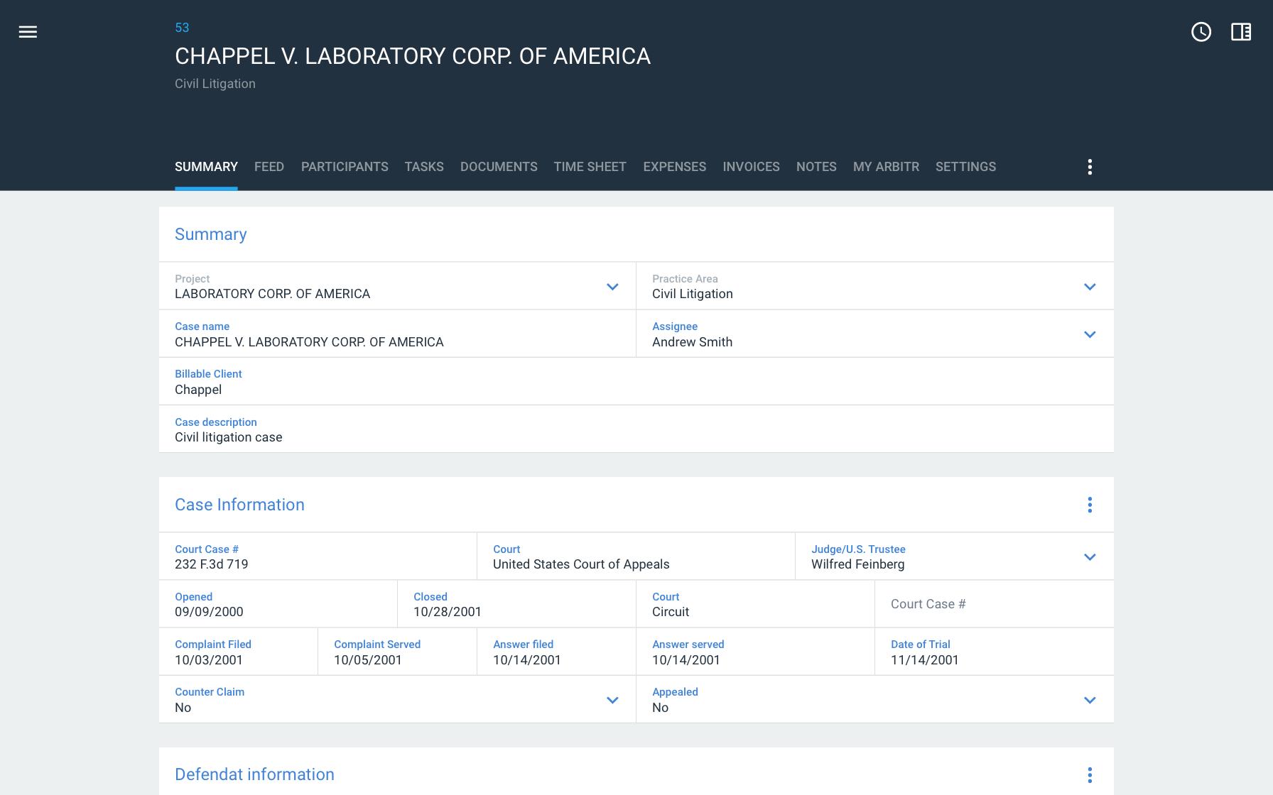 Legal case study database system