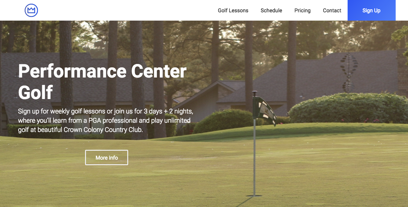 Orange Cattle web developer in Houston Texas. Performance Center Golf at Crown Colony Country Club in Lufkin, Texas.